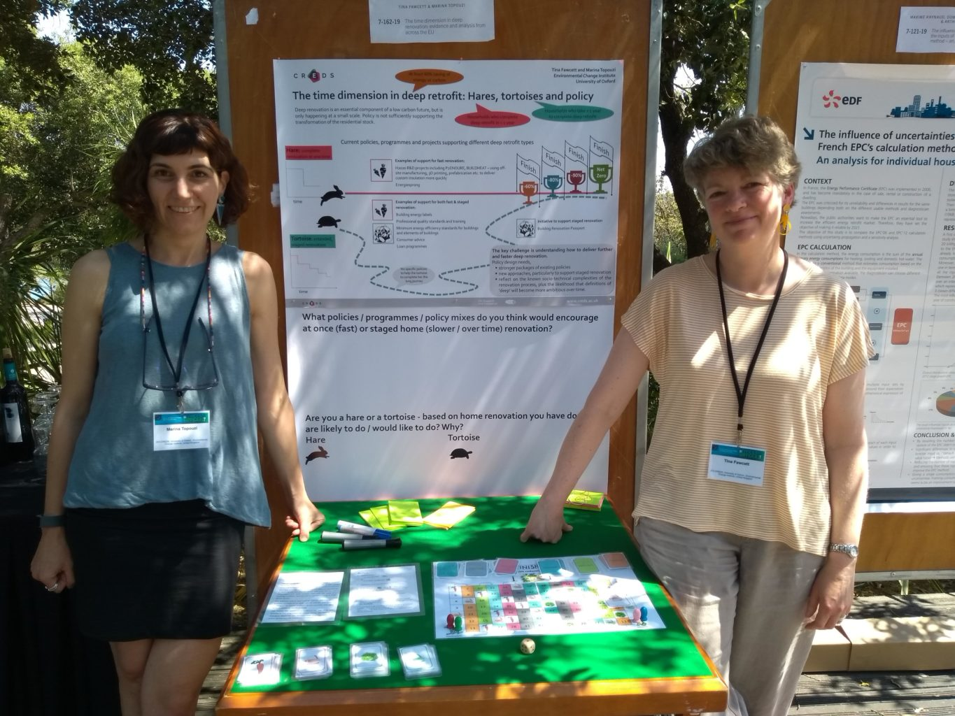 Marina Topouzi and Tina Fawcett with their poster and game