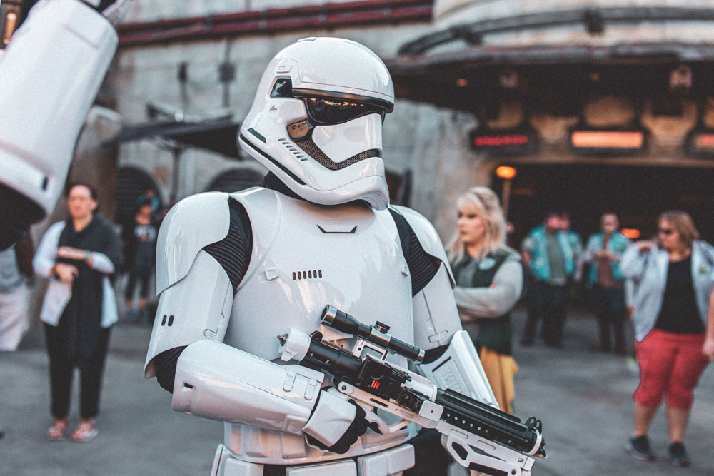 Star Wars stormtrooper character in busy street