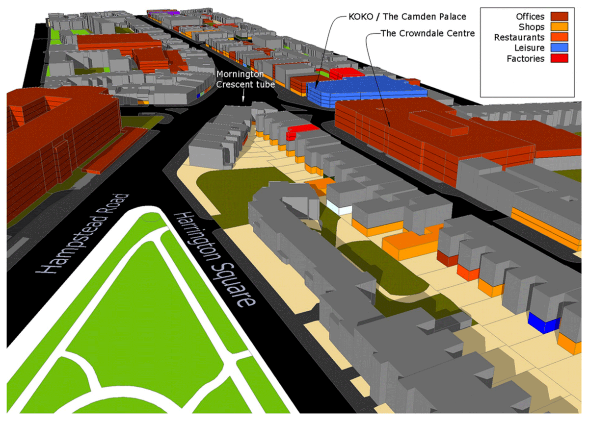 Figure 1: 3DStock model of Camden High Street, London. The dominant activity on each floor of each building is colour coded. Houses and flats are shown in grey