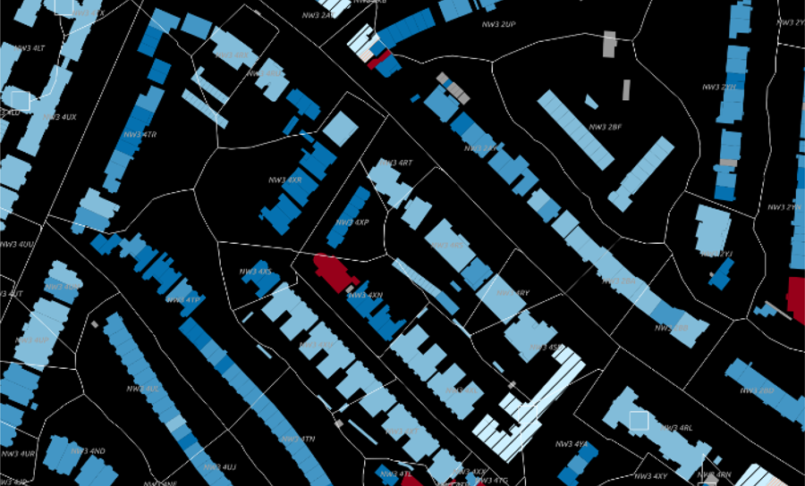 Figure 4: Postcode boundaries and buildings in the 3DStock model (see figure 3 for key).