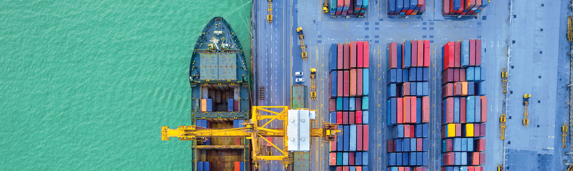 Overhead view of a port, via Shutterstock