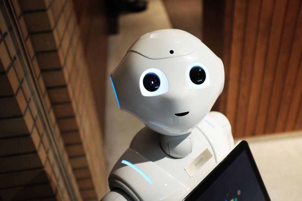 Contemporary humanesque robot with pleasant, innocent face.
