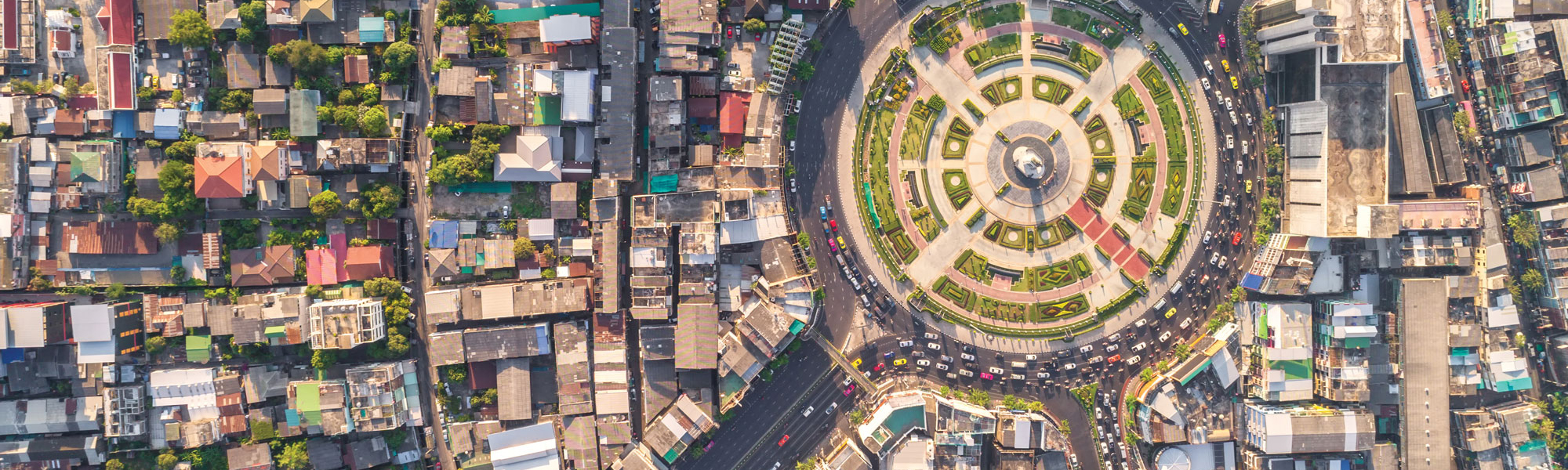 Aerial view of a roundabout and traffic via Shutterstock