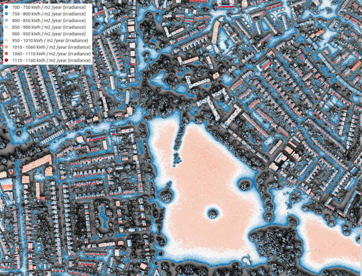 Screenshot of the London Solar Opportunity Map