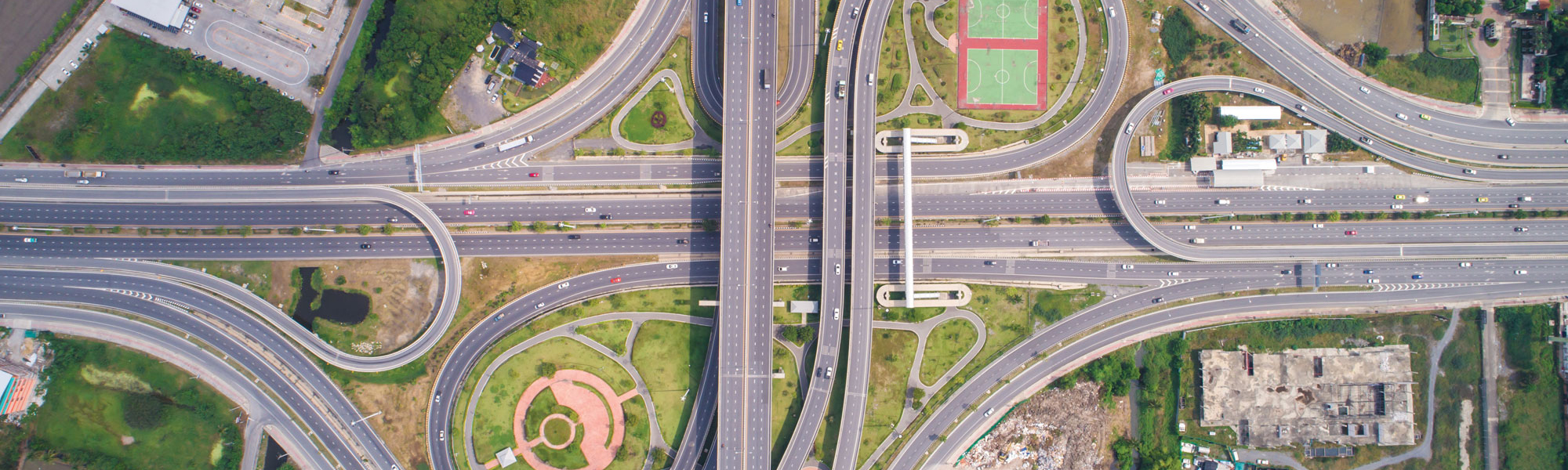 Road intersection from above, via Shutterstock